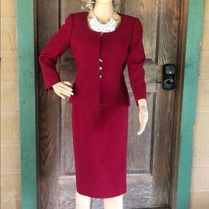 Tahari Red 2 Piece Suit Size 4